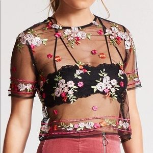 [FOREVER 21] BNWT Sheer Mesh Floral Embroider Top